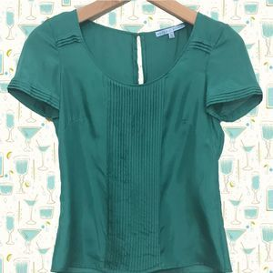 Antonio Melani Jade Green Pintuck Silk Blouse XS